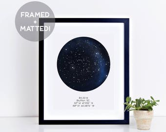 Custom Framed Star Map Night Sky Print Father S Day