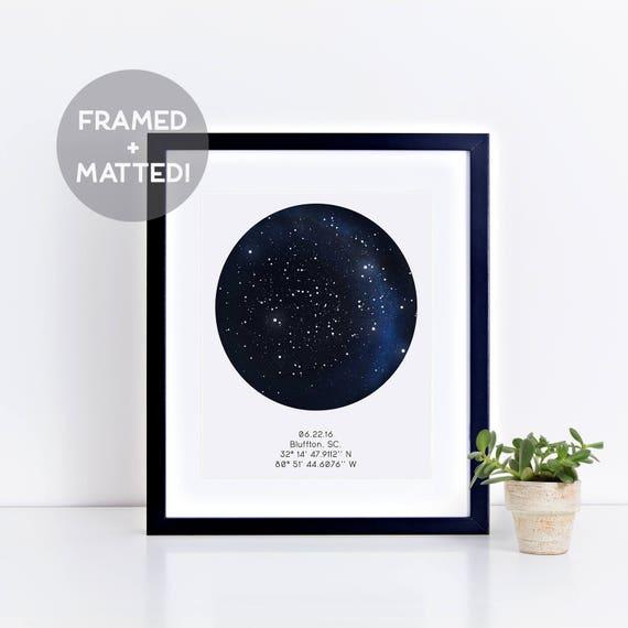 Custom Framed Night Sky Print Star Map Art First Anniversary