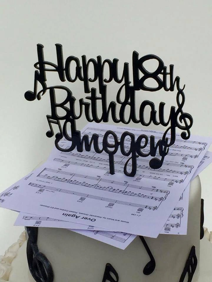 Music Note Cake Topper Custom Personalised Decoration Decorating Happy Birthday