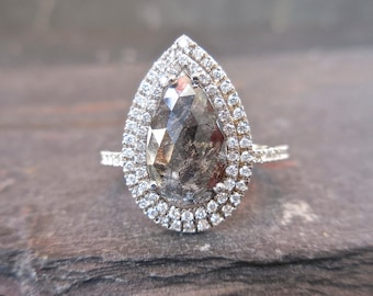 Pear Diamond Engagement Ring With Double Halo, MADE TO ORDER, Pear Rose Cut, Custom, Salt & Pepper, Unconventional