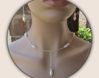 Bridal Jewelry Set Ivory Teardrop Y Necklace Swarovski Pearls and Rhinestones Wedding Jewelry