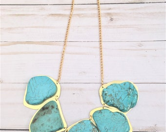 Turquoise Statement Necklace, Chunky Turquoise Necklace, Turquoise and Gold Necklace, Brass Necklace, Western Necklace, Tribal Necklace