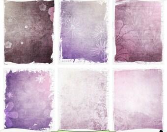 Purple Haze Printable Art Journal Papers Instant Download Set of 6 - 8.5 x 11 inch Digital Prints JPEG & PDF Plum Purple Commercial Use 1389