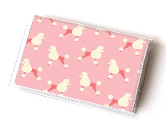 Vinyl Card Holder - Pink Poodle / dog, pet, pink, paris, card case, vinyl wallet, women's wallet, small, pretty, handmade, cute, retro