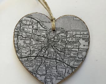 Rochester Map Heart Ornament - Black and White