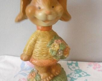 Vintage Rabbit nodder ... Bunny rabbit shelf sitter ... Easter gift
