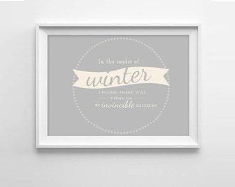 Winter Quote Art Print - Albert Camus quote - Inspirational