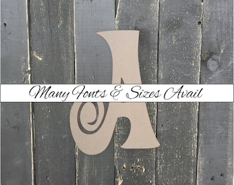 """Curly Wooden Letter """"A"""" – Unfinished, Unpainted, Decorative Font -- Perfect for Crafts, DIY, Nursery, Kids Rooms, Weddings – Sizes 1"""" to 42"""""""