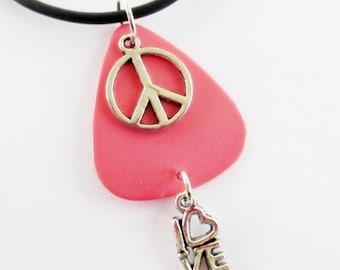 Guitar Pick Necklace Pink Peace Sign Love
