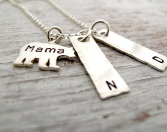 Mama Bear Sterling Silver Hand Stamped Necklace, Kids Name Necklace, Mother's Necklace, 2 kids names, 3 kids names, Mother's Day Gift