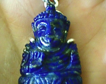 Buddha carved Lapis 925 Sterling Silver Pendant