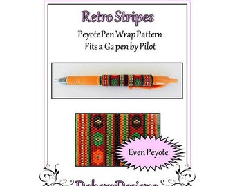 Bead Pattern Peyote(Pen Wrap/Cover)-Retro Stripes