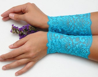 Lace bracelets Filigree lace cuff Blue wedding bracelet Lace wrist cuff Elegant bracelet bride accessories Beauty gift Outdoors Gift for her