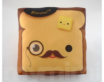 Movember, Decorative Pillow, Toast Pillow, French Toast, Kawaii Pillow, Mustache Pillow, Monocle, Throw Pillow, Decor Pillow, 7 x 7""