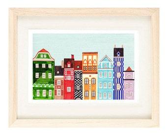 POZNAN, POLAND - 5 x 7 Colorful Skyline Illustration Art Print Of A Polish Town, Wall Decor, Old Market Square, Green, Blue