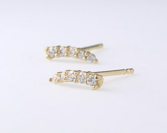 14K Solid Gold Bar Stud Earrings, 14K Gold Bar Studs, Simple Bar Earrings, Dainty Earrings, Minimalist Earrings