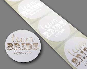 35 x 45mm round gold foil printed team bride stickers with personalised date