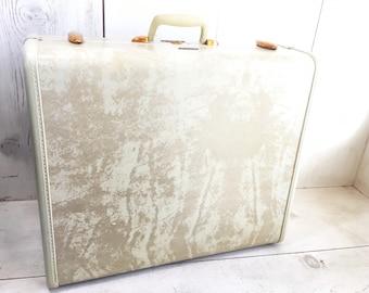 Vintage Samsonite Hardside Suitcase Pearl White