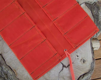 Limited Edition Extra Large Orange Waxed Canvas Tool Roll in Martexin Gridwax