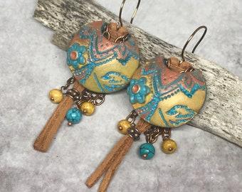 Boho Earrings, Bohemian Earrings, Lotus Earrings, Boho Dangle Earrings, Colorful Earrings, Bohemian Jewelry, Artisan Earrings, Flower