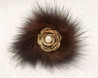 Fur Flower Brooch, Fur Pin, Vintage Fur Brooch, Fur Jewelry,Vintage Wedding, Vintage Gift, Winter Brooch,Elegant Statement Brooch