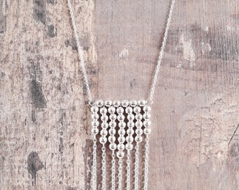 "Necklace ""Steve"", silver beads and chain"