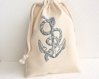 10 Nautical Favor Bags - Anchor Favor Bags -Nautical Party Favors - Nautical Baby Shower - Nautical Birthday - Anchor Party Decorations