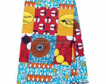 Faux Patchwork, African fabric per yard /red/sky blue/ African fabric/ Ankara fabric/ Hollandais/ African wax Print/ Cotton Print/ WP1011B