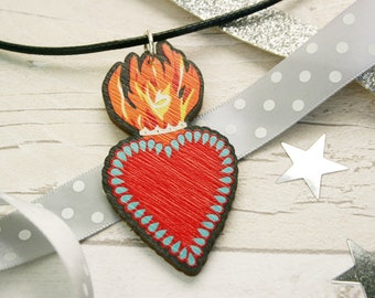 Sacred Heart Necklace - Mexican Flaming Heart Jewellery - Love Heart Necklace - Wood Laser Cut Heart Pendant Jewelry