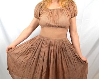 Vintage 1940s 40s Brown Polka Dot Polkadot Semi Sheer Classic Rayon Dress