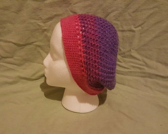 Simple Beret Slouchy Beanie- Pink, Gray and Purple
