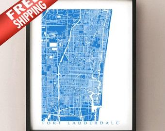 Fort Lauderdale Map Print - Florida Poster
