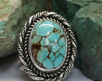 Number Eight Turquoise set in Sterling Silver Ring Sz 6.75