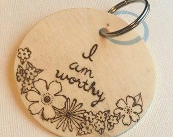 Affirmation Keychains-wood-hand burned