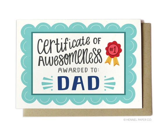 Awesome Dad Birthday Card Certificate of Awesomeness