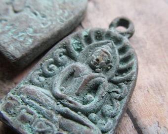 Choice of Buddha Pendant, Buddha, Sitting Buddha Pendant,Buddha Amulet, Patina, Brass Patina, Buddha Amulet Pendant, Amulet