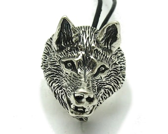 Sterling silver pendant solid 925 wolf ring