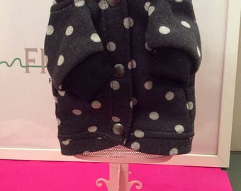 Light fleece jacket with polka dots and studs.