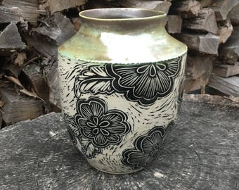 Flower vase, unique pottery vase, carved pottery, carved vase, black and white vase, modern vase, vase with flowers, contemporary pottery.