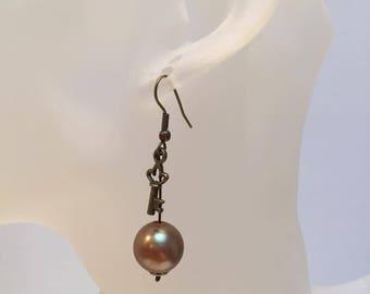 Brown Pearl and key charm earrings