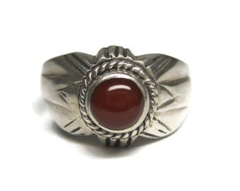Vintage Sterling Carnelian Ring Size 8.75