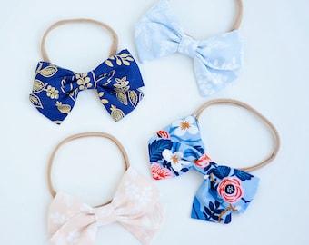 Hair Bow, Bow Headband, Headband, Headbands, Fabric Hair Bow, Hair Clip, Baby Bow, Plaid Bow, Alligator Clip - Rifle Paper Co Collection