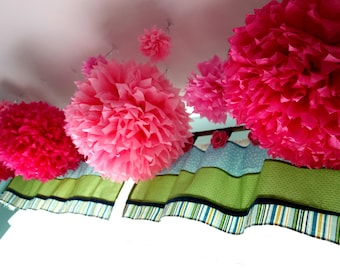 """5 - JUMBO 20"""" DIY PuffScape CONNECTING Tissue Paper Flower Pom Puff Bubblie Gum Pink Princess Wedding Party Decoration"""
