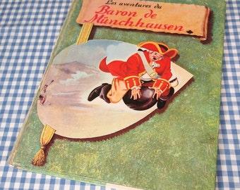 les adventures du baron de munchhausen, the adventures of baron von munchhausen, vintage 1962 children's book IN FRENCH