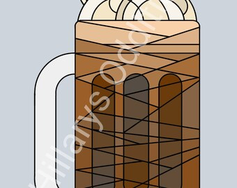 Beer Mug Print - Root Beer Float Download - Geometric Beer Print