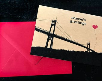 Season's Greetings St. John's Bridge set of 8 note cards Portland Oregon