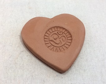 Handmade terracotta sugar keeper/ essential oil diffuser- pottery heart with Om stamp, white gift bag- yoga, valentine's day, aromatherapy