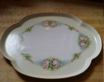 Beautiful Vintage Porcelain Rose Dresser Tray Vanity Tray Limoges France Signed