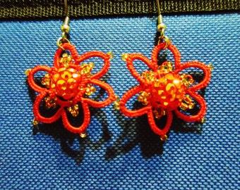 Tatted Beaded Flowers Earrings