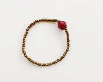 Red Single Bead Bracelet - made in Uganda